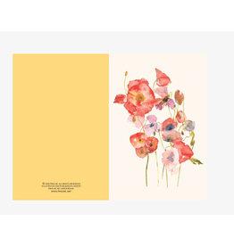 Ping He Art Wenskaart - Poppies - Dubbele kaart + enveloppe - A6