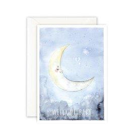 Leo La Douce Wenskaart - Maan, Welcome Baby - Postkaart + Envelope - 10 x 15cm
