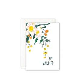 Leo La Douce Wenskaart - Bloemen, Just Married - Postkaart + Envelope - 10 x 15cm