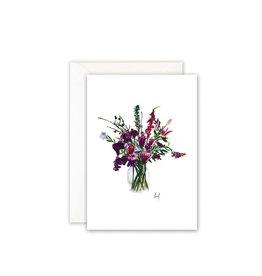 Leo La Douce Wenskaart - Violet Flowers - Postkaart + Envelope - 10 x 15cm