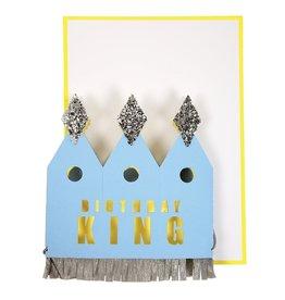 Meri Meri Wenskaart - Crowned birthday king card + Envelop - 10,5 x 23,5 - Happy Birthday