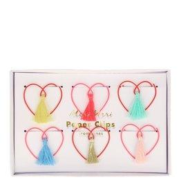 Meri Meri Paper Clips -  Hartjes met tassels  - 6st