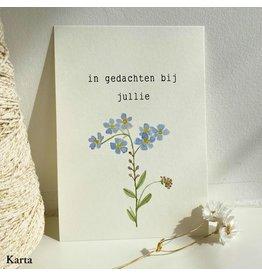Karta Wenskaart - Vergeet-me-nietje, In gedachten bij jullie - Dubbele kaart + Enveloppe - A6