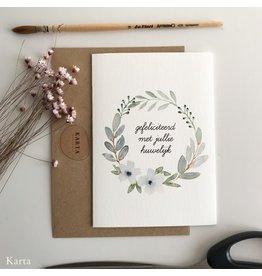 Karta Wenskaart - Bloemenkrans, gefeliciteerd met jullie huwelijk  - Dubbele kaart + Enveloppe - A6