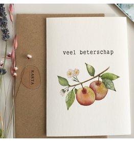 Karta Wenskaart - Appels, Veel beterschap   - Dubbele kaart + Enveloppe - A6