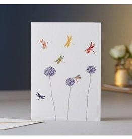 Eloise Hall Wenskaart - Dragonflies & Alliums - Dubbele Kaart + Envelop - 11,5 x 16,5 - Blanco