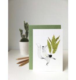 A-line tekent Wenskaart - Vos met plant  - Postkaart met envelop - A6 - blanco