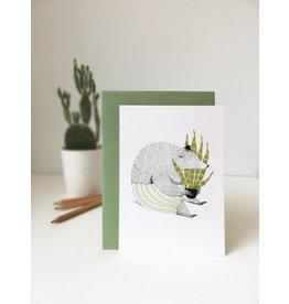 A-line tekent Wenskaart - Beer met plant  - Postkaart met envelop - A6 - blanco