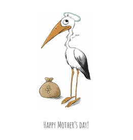 Fries Donche Wenskaart - Ooievaar, Happy Mother's Day! - Postkaart + Enveloppe - A6