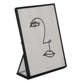 Homedelight Fotolijst staande - Zwart - Glas en metaal - 13 x 18 x 6 cm
