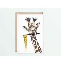 Kathings Wenskaart - Giraffe Hooray - Dubbele kaart + Envelope  - Blanco