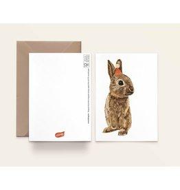 Kathings Wenskaart - Konijntje met hoedje - Dubbele kaart + Envelope  - Blanco