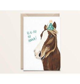Kathings Wenskaart - Happy Horse Hi-Hi-Hip Hoera - Dubbele kaart + Envelope  - Blanco