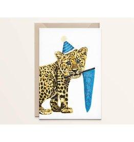 Kathings Wenskaart - Leopard cub Hooray - Dubbele kaart + Envelope  - Blanco