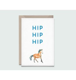 Kathings Wenskaart - Horse hip hip hip - Dubbele kaart + Envelope  - Blanco