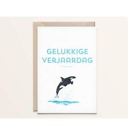 Kathings Wenskaart - Orka Gelukkige verjaardag voor jou - Dubbele kaart + Envelope  - Blanco