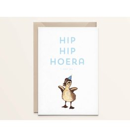 Kathings Wenskaart - Little duck  Hip hip hoera - Dubbele kaart + Envelope  - Blanco