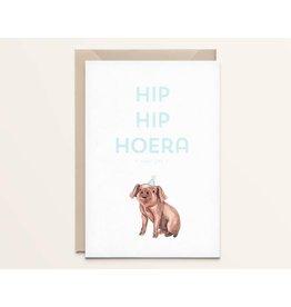 Kathings Wenskaart - Biggetje  Hip hip hoera - Dubbele kaart + Envelope  - Blanco