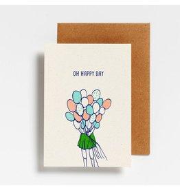 Hello August Wenskaart - Oh happy day - Postkaart + enveloppe- A6 - Blanco