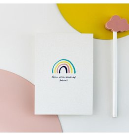 Hello August Wenskaart - Regenboog - Postkaart + enveloppe- A6 - Blanco