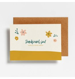 Hello August Wenskaart - Dankjewel juf voor alle goede zorgen - Postkaart + enveloppe- A6 - Blanco