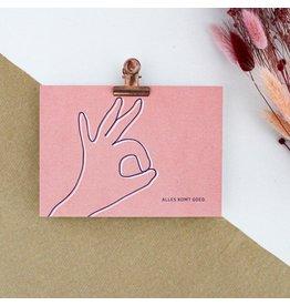 Hello August Wenskaart - Alles komt goed  - Postkaart + enveloppe- A6 - Blanco