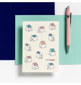 Hello August Wenskaart - Happy New Home  - Postkaart + enveloppe- A6 - Blanco