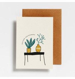 Hello August Wenskaart - New Home, New Beginning  - Postkaart + enveloppe- A6 - Blanco