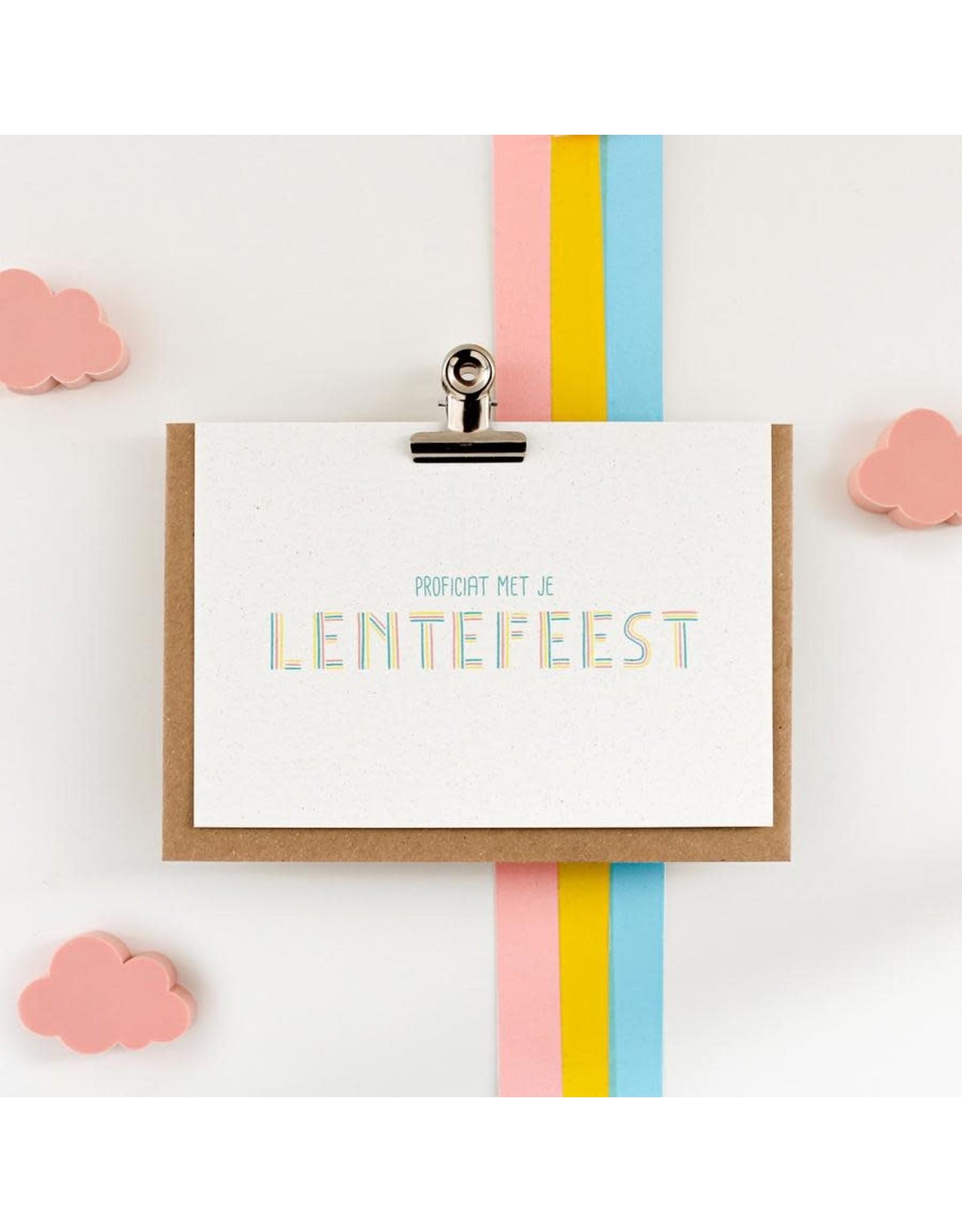 Hello August Wenskaart - Lentefeest pastel  - Postkaart + enveloppe- A6 - Blanco