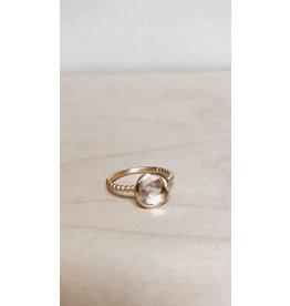 Katwalk Ring - Edelsteen Prenite - Zilver Verguld - Ø 1 cm