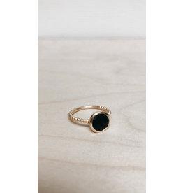 Katwalk Ring - Edelsteen Onyx - Zilver Verguld - Ø 1 cm