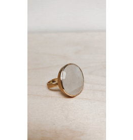 Katwalk Ring - Edelsteen Maansteen  - Zilver Verguld - Ø 2,2 cm
