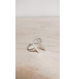 Katwalk Ring - Parallel lijn  - Zilver - | 1,5cm | 1 cm