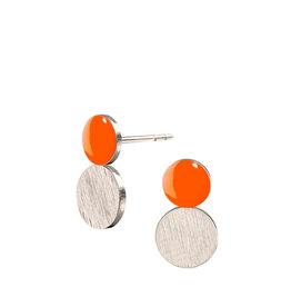 scherning Oorstud SPOT Dotty - Emaille lak schijfje : Neon Oranje - Ø 8 x 14 mm - Zilver