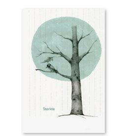 Onar Wenskaart - Blauwe boom met vogel, Sterkte - Postkaart en Enveloppe - A6