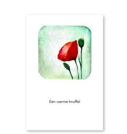 Onar Wenskaart - Klaproos, Een warme knuffel - Postkaart en Enveloppe- A6
