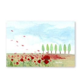 Onar Wenskaart - Veld met bloemen en bomen, Sterkte - Postkaart en Enveloppe- A6