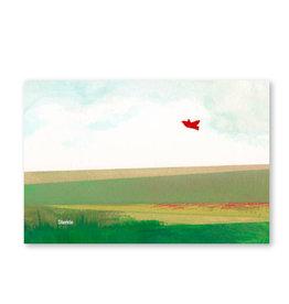 Onar Wenskaart - Veld met vogel, Sterkte - Postkaart en Enveloppe- A6