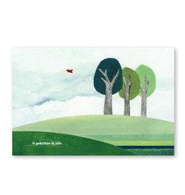 Onar Wenskaart - Een bos, In gedachten bij jullie- Postkaart en Enveloppe- A6
