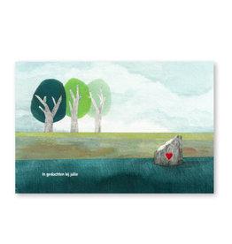 Onar Wenskaart - Boomstronk met hartje, In gedachten bij jullie- Postkaart en Enveloppe- A6