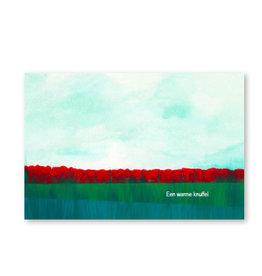 Onar Wenskaart - Veld met klaprozen, Een warme knuffel - Postkaart en Enveloppe- A6