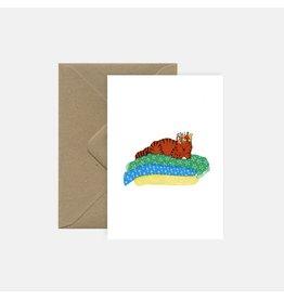 Pink Cloud Studio Wenskaart - Lazy Cat - Dubbele Kaart met envelop - blanco