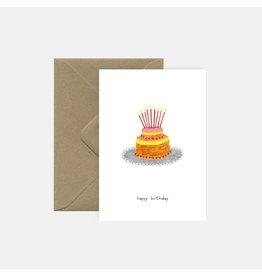 Pink Cloud Studio Wenskaart - Birthday Cake - Dubbele Kaart met envelop - blanco