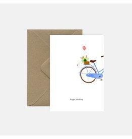Pink Cloud Studio Wenskaart - Bubbels on bike - Dubbele Kaart met envelop - blanco