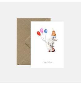 Pink Cloud Studio Wenskaart - Party Animal - Dubbele Kaart met envelop - Blanco