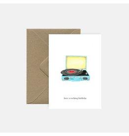 Pink Cloud Studio Wenskaart - Record player - Dubbele Kaart met envelop - blanco
