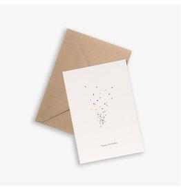 Kartotek Wenskaart - Confetti - Dubbele kaart en Enveloppe - A6