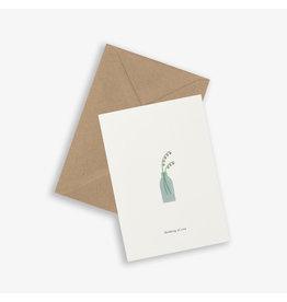 Kartotek Wenskaart - Flower vase - Dubbele kaart en Enveloppe - A6