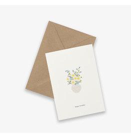 Kartotek Wenskaart - Birthday flowers - Dubbele kaart en Enveloppe - A6