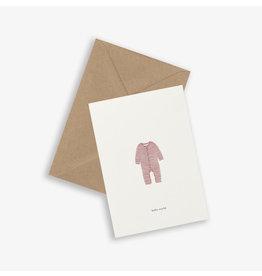 Kartotek Wenskaart - Baby onesie blush - Dubbele kaart en Enveloppe - A6